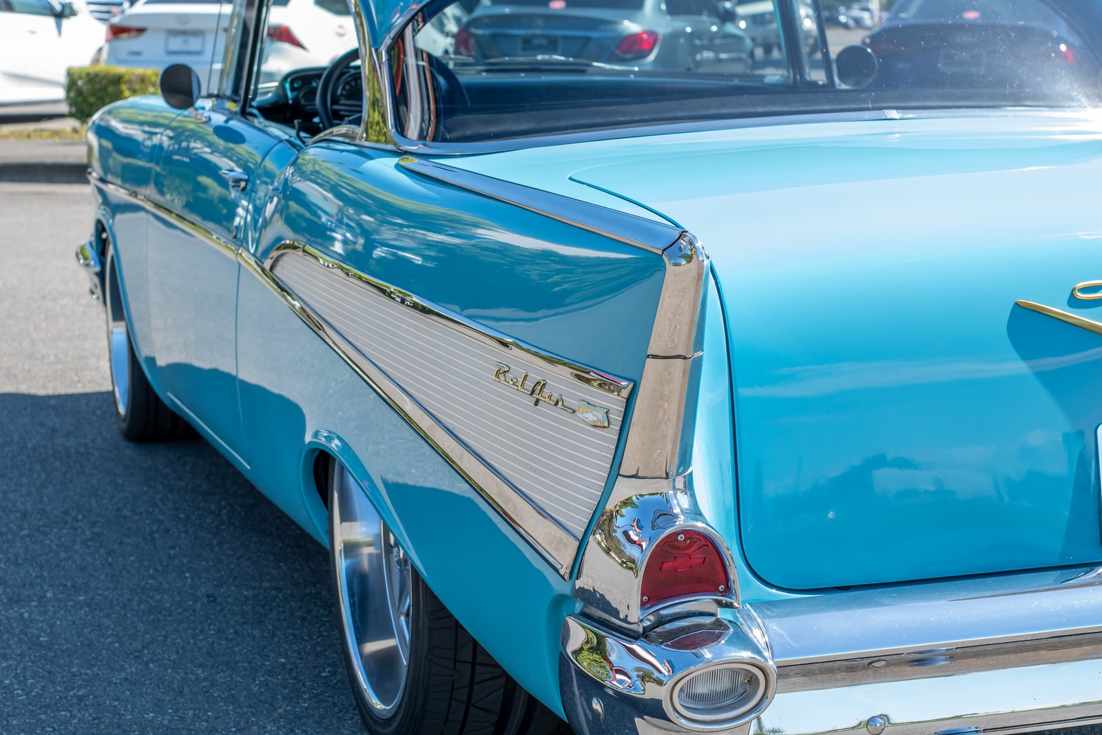 blue and white classic car